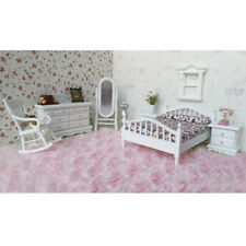 1/12 Miniature Wooden Bedroom Furniture Kit Accessory for Dolls House Decor