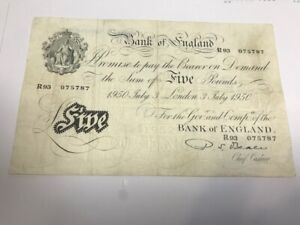BANK of ENGLAND P S BEALE WHITE FIVE POUNDS NOTE - London - 03/07/1950