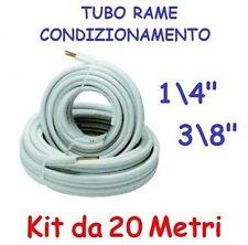 """KIT METRI 20 MT TUBO ROTOLO RAME CONDIZIONAMENTO CLIMATIZZATORE 1/4"""" + 3/8"""""""