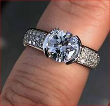 & Pave Set For Woman 925 Silver Round Cut Engagement Rings Three Row Semi Bezel