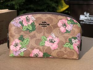 NWT COACH Cosmetic Case/Pouch 17 With Floral Bouquet Print Gift Limited Edition
