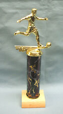 Ayso star Soccer male trophy award black column wood base