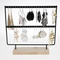 Wood Metal Earrings Necklace Jewelry Display Rack Stand Organizer Holder Rack
