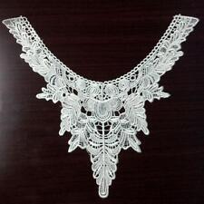 White Lace Embroidered Floral Neckline Neck Collar Sew on Applique Trim DIY