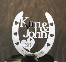 Personalised  Anniversary Horseshoe Cake Topper Bridal Gift 25th, 30th 40th 50th