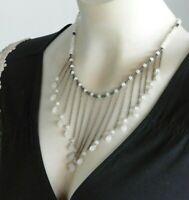 """Vintage Moonstone Necklace Modernist Statement Solid 925 Sterling Silver 17.5"""""""