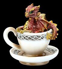 Drache in Tasse Figur - Dracuccino - rot - Fantasy Lustiges Drachenkind Geschenk