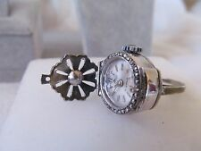 VTG 800 Silver Closed Case Flip Top 17J Bucherer Marcasite Ring Watch  sz 4.5