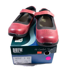 DREW Womens Mary Janes Red Rose Comfort Shoes Sz 9 WW Leather NWB