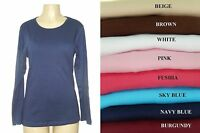 2,4,6 pk WOMEN BASIC LONG SLEEVE 100% COTTON CREW NECK STRETCH T SHIRT LOT M-XL