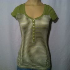 Abercrombie & Fitch Green & White Striped Shirt YOUTH Girl's Size XL X-Large