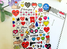 Fun Love Colorful Eyes Heart Sticker Scrapbook card DIY gift Diary Valentine