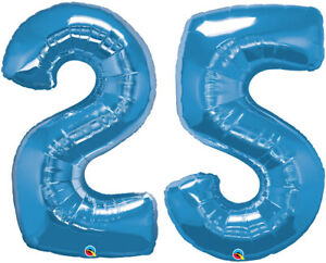 """25th BIRTHDAY BALLOON 34"""" BLUE 25th BIRTHDAY PARTY SUPPLIES NUMBER 25 BALLOONS"""
