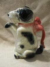 Antique Germany Erphila Pottery 6702B Black & White Terrier Dog Teapot Pitcher