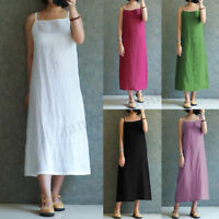 Summer Womens Strap Cotton Linen Dress Sleeveless Tank Inside Basic Slip Dress