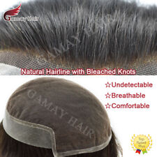 French Lace Front Mens Toupee Poly Pu Hairpiece Natural Hair Replacement System