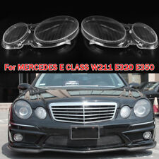 Left + Right Headlight Lenses Headlamp Cover For MERCEDES E CLASS W211 E320 E350