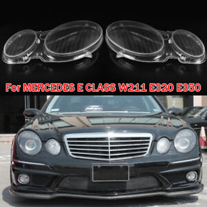 Left + Right Headlight Lenses Headlamp Cover For MERCEDES E CLASS W211 E320 E350