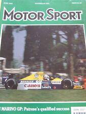 MOTORSPORT MAGAZINE JUN 1990 SAN MARINO GP PATRESE MAX MOSLEY SUNBEAM 74 REBORN