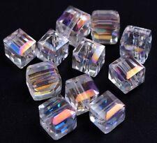 Glasperlen Würfel 6mm Klar AB 20stk Tschechische Kristall Perlen Schmuck X235