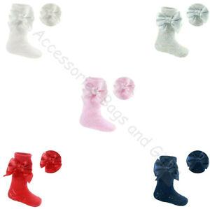 Baby Girls Spanish Romany Pelerine Heart Knee High Bow Socks 6 Cols Soft Touch