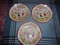 "3 Vintage Antique Japanese Kutani Geisha Hand Painted Plate 5 3/4"" Porcelain"