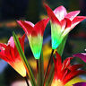 Garden Lily Flower Shape LED Solar Powered Lights Outdoor Yard Standing Decor