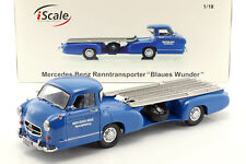 Mercedes-Benz Race Car Transporter the Blue Wonder Year 1955 Blue 1:18 Iscale