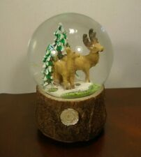 "Christmas Reindeer Musical Snow Globe Plays ""We Wish You a Merry Christmas"""