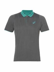 Asics Men's Polo Shirt Club Classic Short Sleeve Tennis Polo - Grey - New