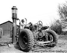 Farmall Tractor & Gas Pump, Jasper County, Iowa - 1940 - Historic Photo Print