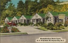 Vintage Postcard - Rhododendron Motor Court - Bryson City NC