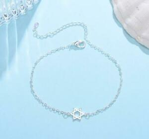 Women's Hexagon Six-pointed Star Silver White Gold Charm Chain Foot Anklet