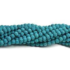 Lava Rock Stone Round Beads 10mm Teal Blue 35+ Pcs Dyed  Gemstones DIY Jewellery