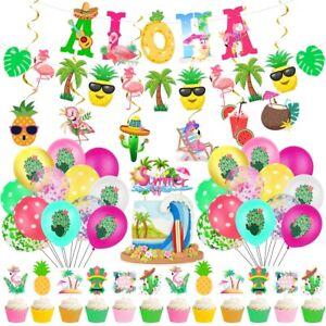 Hawaii Tropical Summer Party Balloons Banner Toppers Beach Wedding Theme Decor