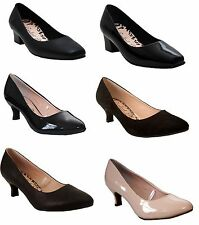 New Ladies Womens low heel wide fit party casual office formal court shoes size