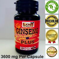 BEST Korean Ginseng panax energy boost 3600 mg Capsules Max Saponins Adaptogens