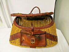 Vintage Willow Wicker Sportsman Fishing Creel-Leather Front Pouch & Strap