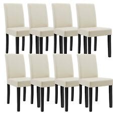 8x [en.casa]® Stühle Hochlehner Esszimmer Stühle Creme Kunst-Leder Polster Stuhl