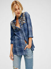 New Free People Stevie's Embellished Plaid Button Down Shirt Sky Combo Top XS