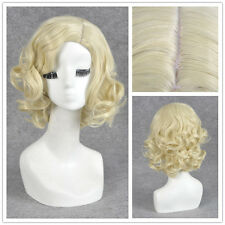 Halloween Grandmother Cosplay Blonde Women Short Curly Hair Party Wig