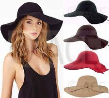 Womens 100% Wool Floppy Wide Brim Cloche Foldable Hats Felt Cap Vintage Hat