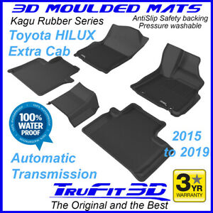 Fits Toyota Hilux Extra Cab 2015 - 2021 Rubber Floor Mats Black 3D Auto Trans