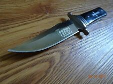"8"" SHARPS CUTLERY FIXED BLADE KNIFE 3CR13 S.S. BLACK HARDWOOD HANDLE WITH CROSS"