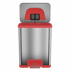 TapCan 13 Gallon  Red trim Automatic Trash Can with One-Tap Pedal Sensor Kitchen