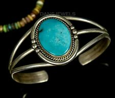 Vintage Old Pawn NAVAJO Handmade Clean Turquoise & Sterling Silver Bracelet