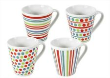 Set of 4 Multi Coloured Spots & Stripes Tea & Coffee Mugs ideal for home office