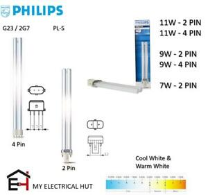Philips PL-S Compact Fluorescent Lamp G23/2G7 2 Pin 4 Pin 11W 9W 7W