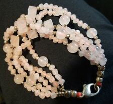 Multi 5 Strand Rose Quartz- Sterling Bracelet