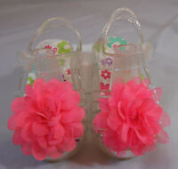 GARANIMALS Girls Clear Jelly Closed Toe Sandals w/ Fabric Flower Toddler Size 3